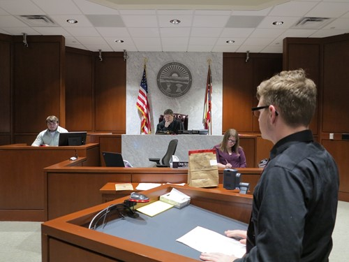 Witness being questioned at mock trial