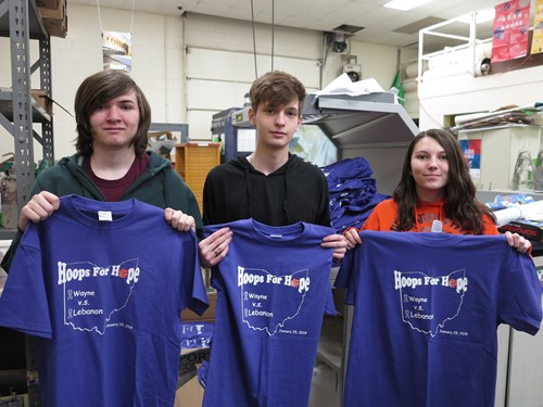 Graphics students with T-shirts