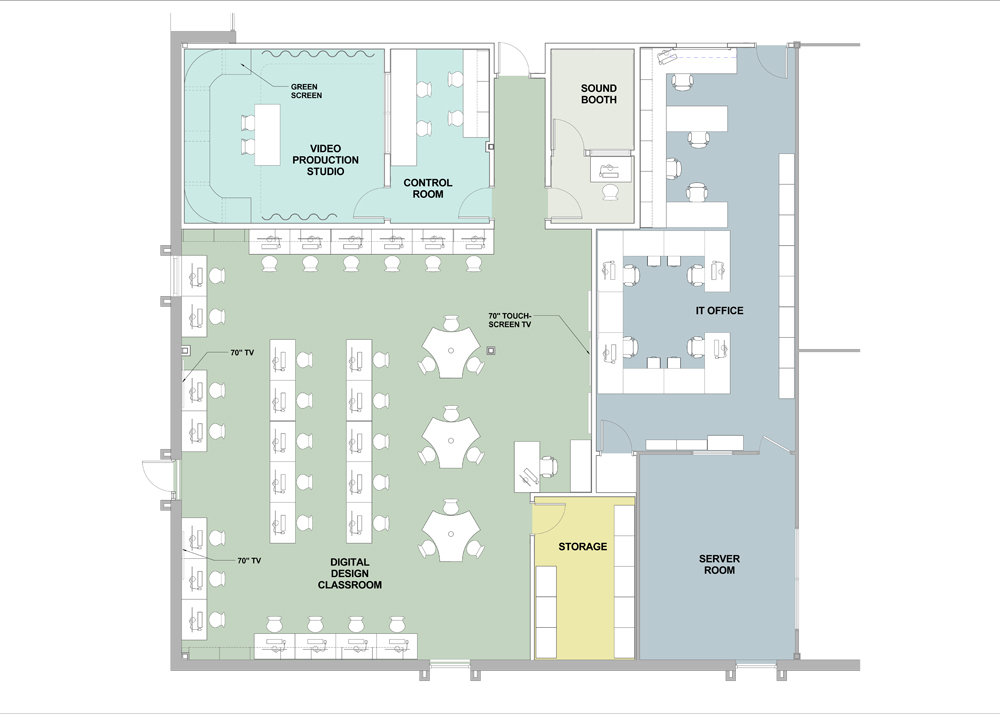 Blueprint of Digital Design Lab including video production studio, sound booth and classroom