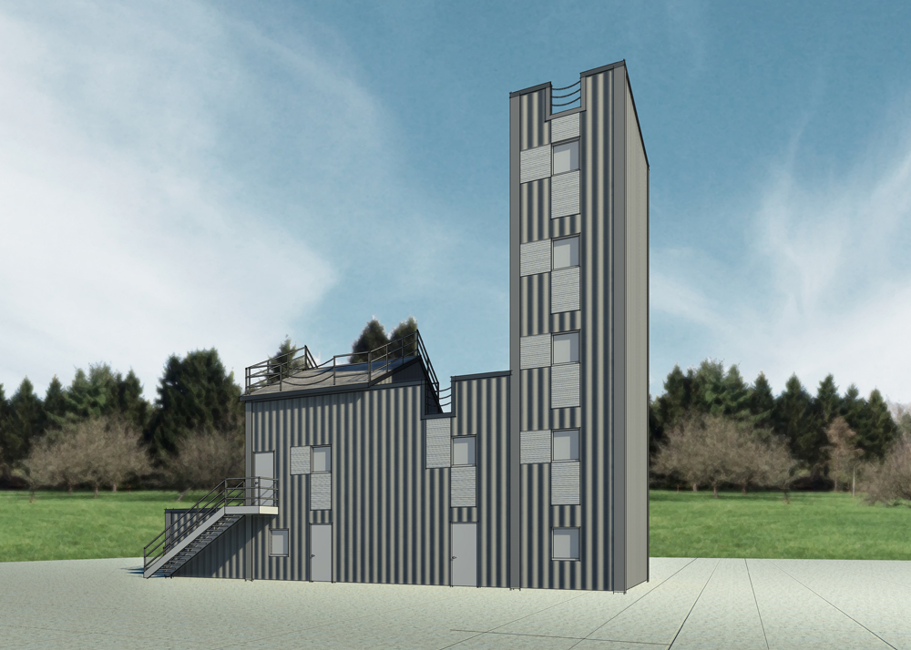 Architectural rendering of fire and rescue training facility and burn tower