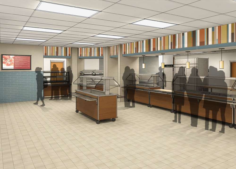 Architectural rendering of the cafeteria serving area