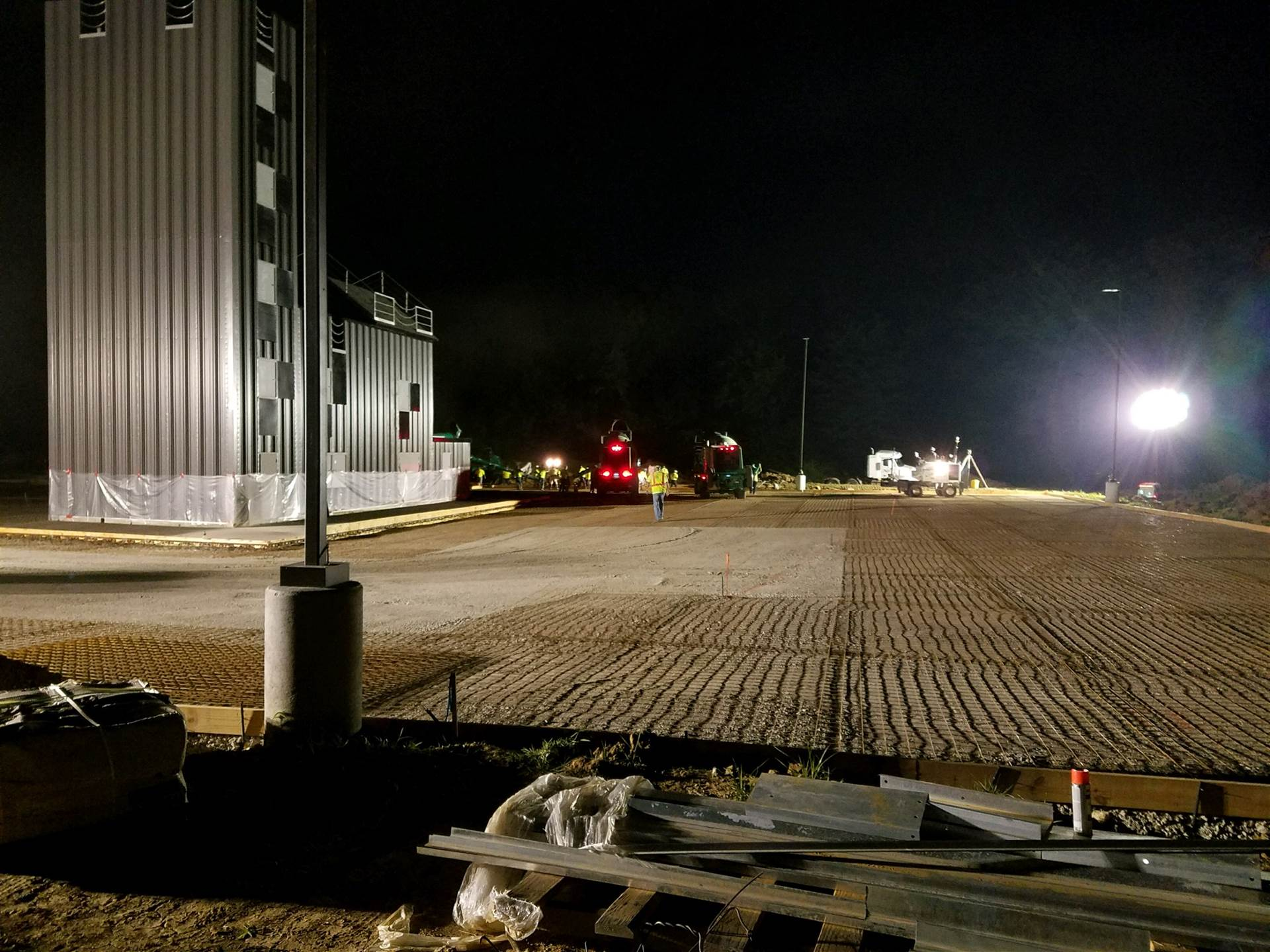 Fire training center at night