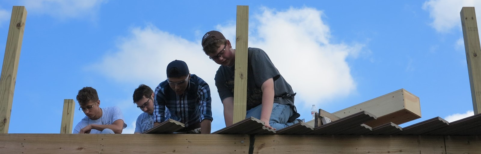 Carpentry students at work